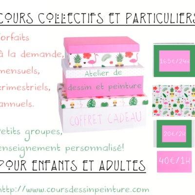"""Coffret ou carte Cadeau """"Cours de dessin et peinture"""" 24 heures, hors matériel."""